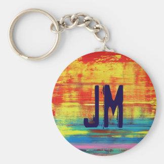 Custom Monogram Sunny Sunset Abstract Art Keychain