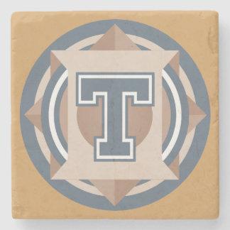 """Custom Monogram """"T"""" Initial Stone Coaster"""