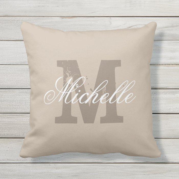 Custom monogram taupe beige outdoor throw pillow Zazzle