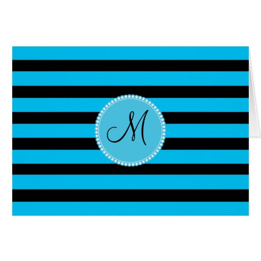 Custom Monogram Teal Blue and White Stripe Pattern Cards