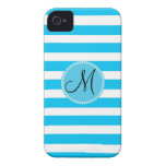 Custom Monogram Teal Blue and White Striped iPhone 4 Cover