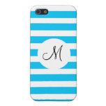 Custom Monogram Teal Blue and White Striped Covers For iPhone 5