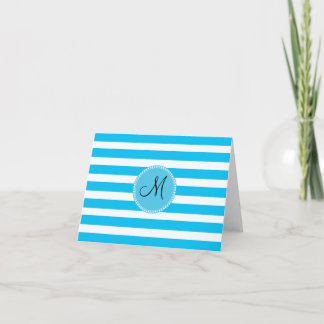 Custom Monogram Teal Blue and White Striped Note Card