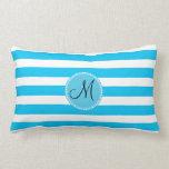 Custom Monogram Teal Blue and White Striped Throw Pillows