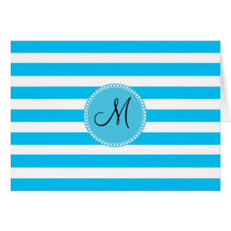 Custom Monogram Teal Blue and White Striped Stationery Note Card
