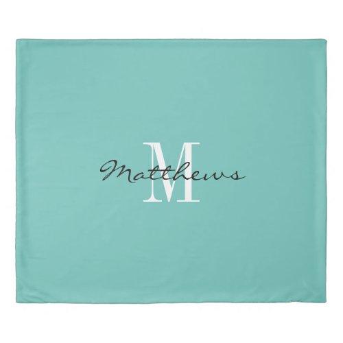 Custom monogram teal blue king size duvet cover