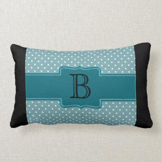 Custom Monogram Teal Blue Polka Dots and Banner Throw Pillow