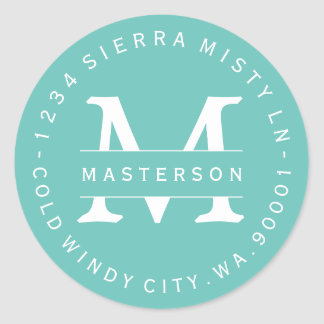 Custom Monogram Teal Circular Return Address Label