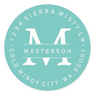Custom Monogram Teal Circular Return Address Label