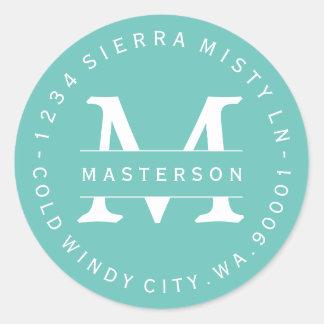 Custom Monogram Teal Circular Return Address Label Classic Round Sticker