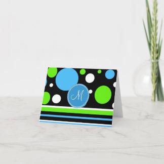 Custom Monogram Teal Green Stripes Polka Dots Note Card