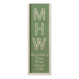 Custom monogram, text & color wooden wine box