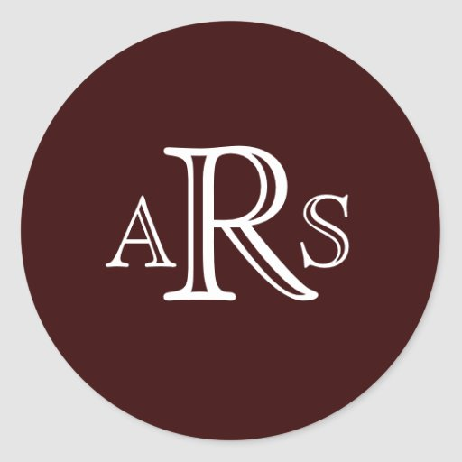 custom monogram three letter dark brown seal sticker zazzle With letter seal stickers