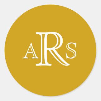 Custom Monogram Three Letter Gold Wedding Seal Stickers