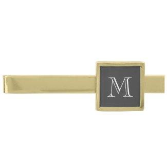 Custom monogram tie clip with classy chic initial