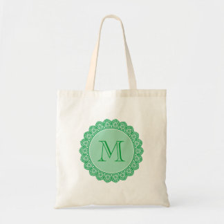 Custom Monogram To Personalize KELLY GREEN Lace V3 Tote Bag