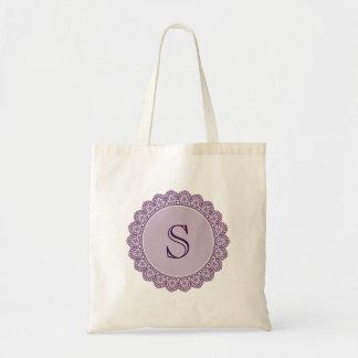 Custom Monogram To Personalize PURPLE Lace V26 Tote Bag