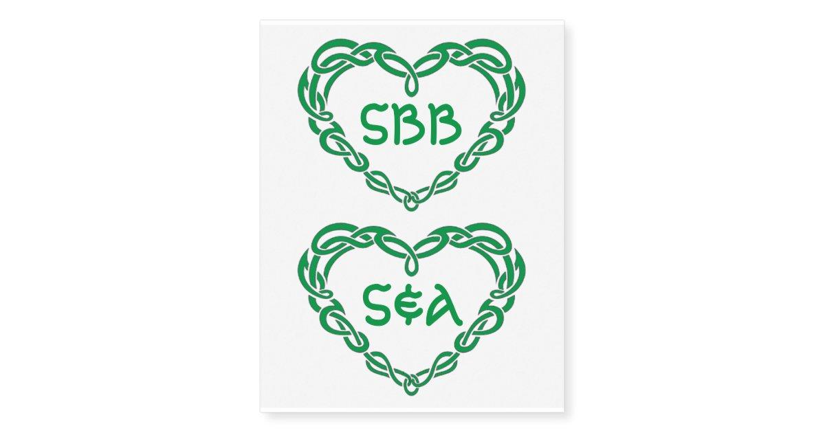 Henna Tattoo Kits Ireland: Custom Monogram Tribal Celtic Irish Green Heart Temporary