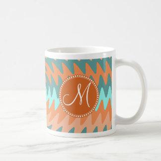 Custom Monogram Tribal Coral Aqua Ripples Waves Coffee Mug