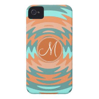 Custom Monogram Tribal Coral Aqua Ripples Waves iPhone 4 Cover