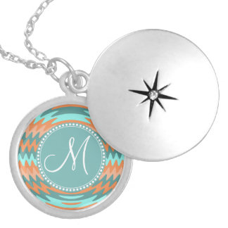 Custom Monogram Tribal Coral Aqua Ripples Waves Silver Plated Necklace