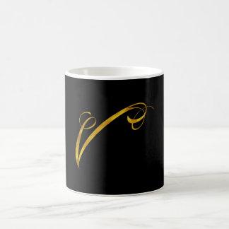 Custom Monogram V Faux Gold Foil Monograms Initial Coffee Mug