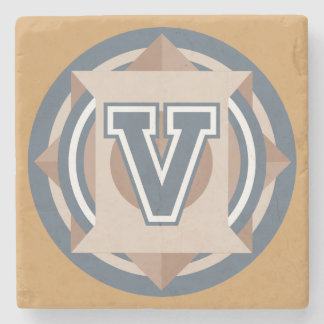 "Custom Monogram ""V"" Initial Stone Coaster"