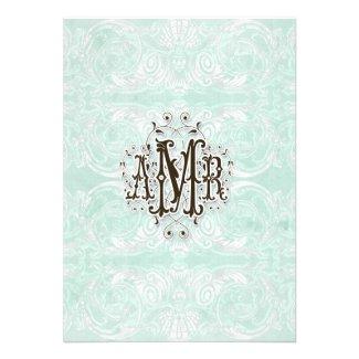 Custom Monogram Vintage Damask Lace Look Aqua Blue Invite
