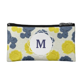 Custom Monogram Vintage Floral Makeup Bag