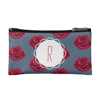 Custom Monogram Vintage Rose Makeup Bag
