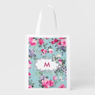 Custom Monogram Vintage Rose Pattern Grocery Bag