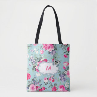 Custom Monogram Vintage Rose Pattern Tote Bags