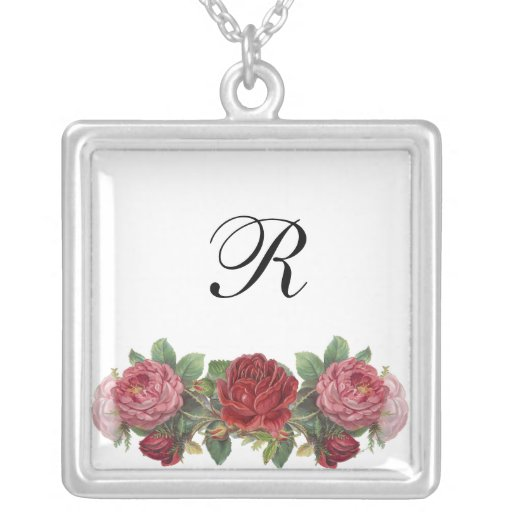 Custom Monogram Vintage Roses Necklace