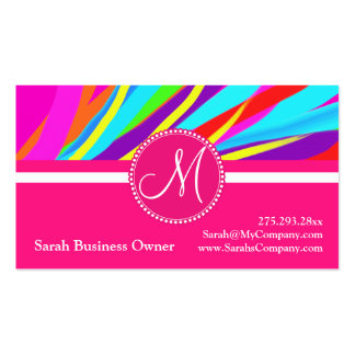 Custom Monogram Vivid Color Paint Brush Strokes Business Cards