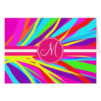 Custom Monogram Vivid Color Paint Brush Strokes Card