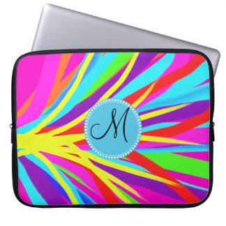 Custom Monogram Vivid Color Paint Brush Strokes Computer Sleeve