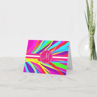 Custom Monogram Vivid Color Paint Brush Strokes Note Card