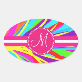 Custom Monogram Vivid Color Paint Brush Strokes Oval Sticker