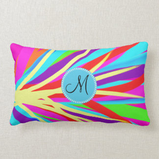 Custom Monogram Vivid Color Paint Brush Strokes Throw Pillow