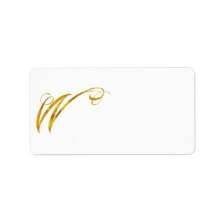 Custom Monogram W Faux Gold Foil Monograms Initial Label