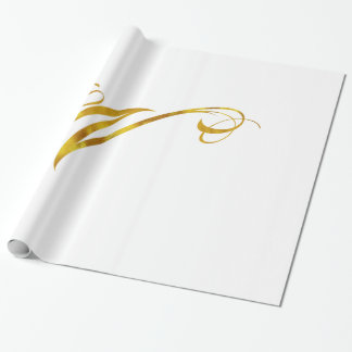 Custom Monogram W Faux Gold Foil Monograms Initial Wrapping Paper