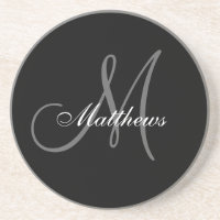 Custom Monogram Wedding Anniversary Coaster