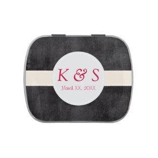 Custom Monogram Wedding Favor Filled Candy Tin