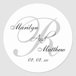 Custom Monogram Wedding Favor Sticker