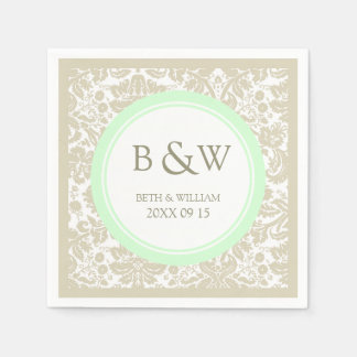 Custom Monogram Wedding Napkin Beige Mint Damask