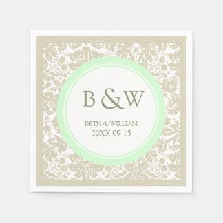 Custom Monogram Wedding Napkin Beige Mint Damask Disposable Napkins