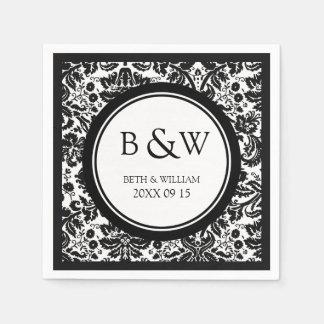Custom Monogram Wedding Napkin Black White Damask