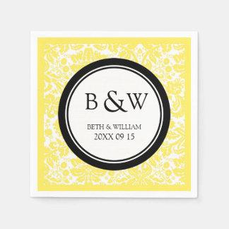 Custom Monogram Wedding Napkin Black Yellow Damask Disposable Napkins