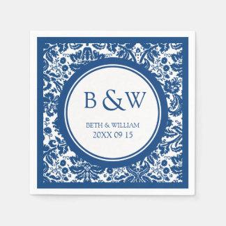 Custom Monogram Wedding Napkin Blue Damask