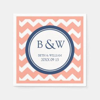 Custom Monogram Wedding Napkin Coral Blue Chevron Paper Napkins